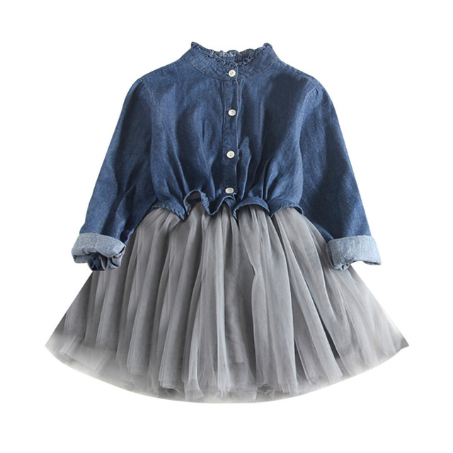 99d6d145e Baby Girls Denim Dress Long Sleeve Patchwork Princess Tutu Dress ...
