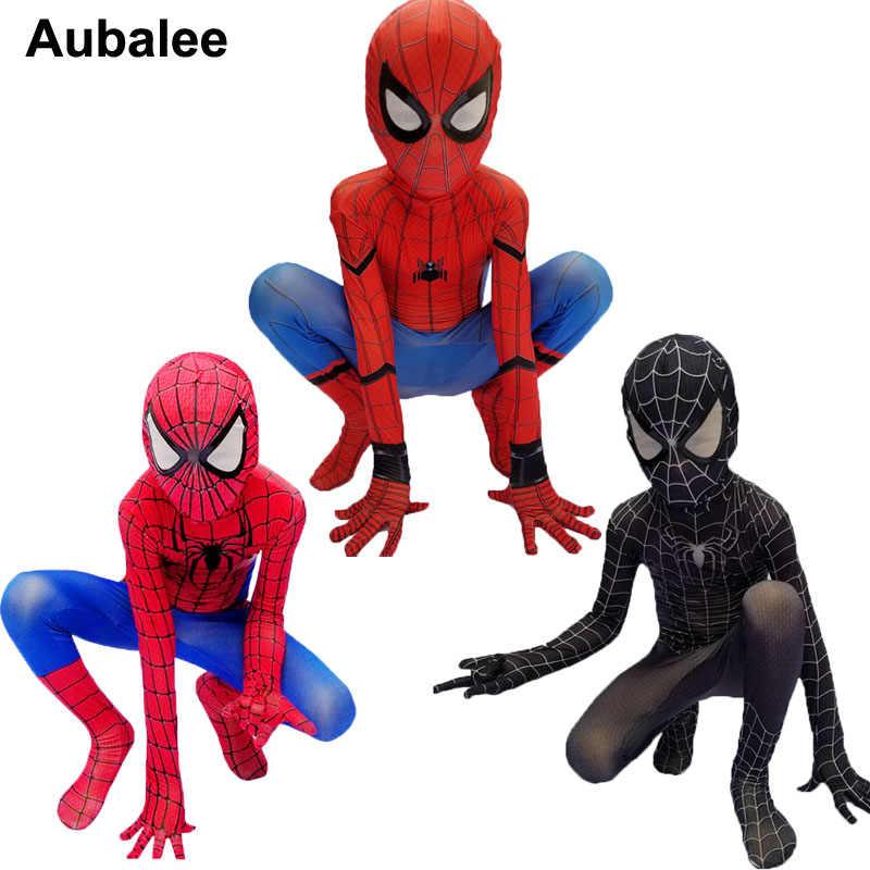 เด็กชาย Spider Man เด็ก Amazing Spiderman สีแดงสีดำ Superhero Spandex Zentai คอสเพลย์ชุด