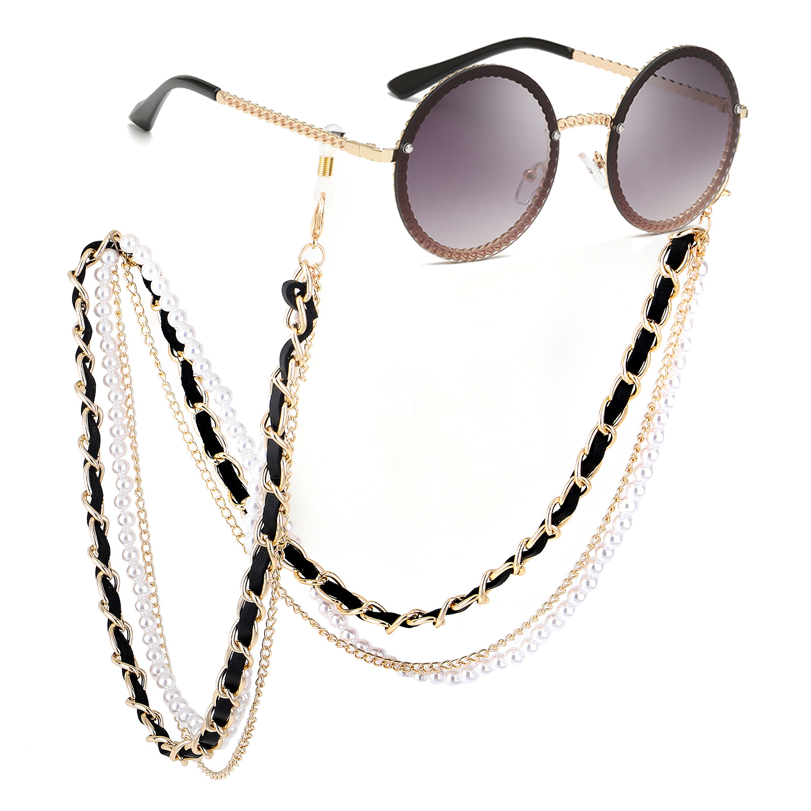WHO CUTIE 2019 White Pearl Sunglasses Chain Women Lanyard With Strap Eye Glasses Accessories For Lady (only Chain No Glasses)
