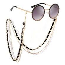 Кто милашка белый жемчуг цепочка для солнцезащитных очков Для женщин шнурки с ремешком глаз очки антибликовые солнцезащитные очки леди(только цепи очков нет