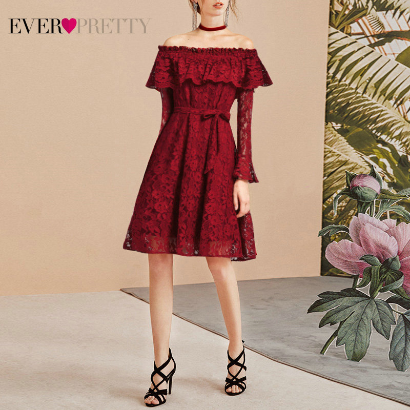 Ever Pretty Women Sexy Short   Evening     Dresses   Lace Burgundy Long Sleeve Autumn Winter Homecoming Party   Evening     Dress   AS05906