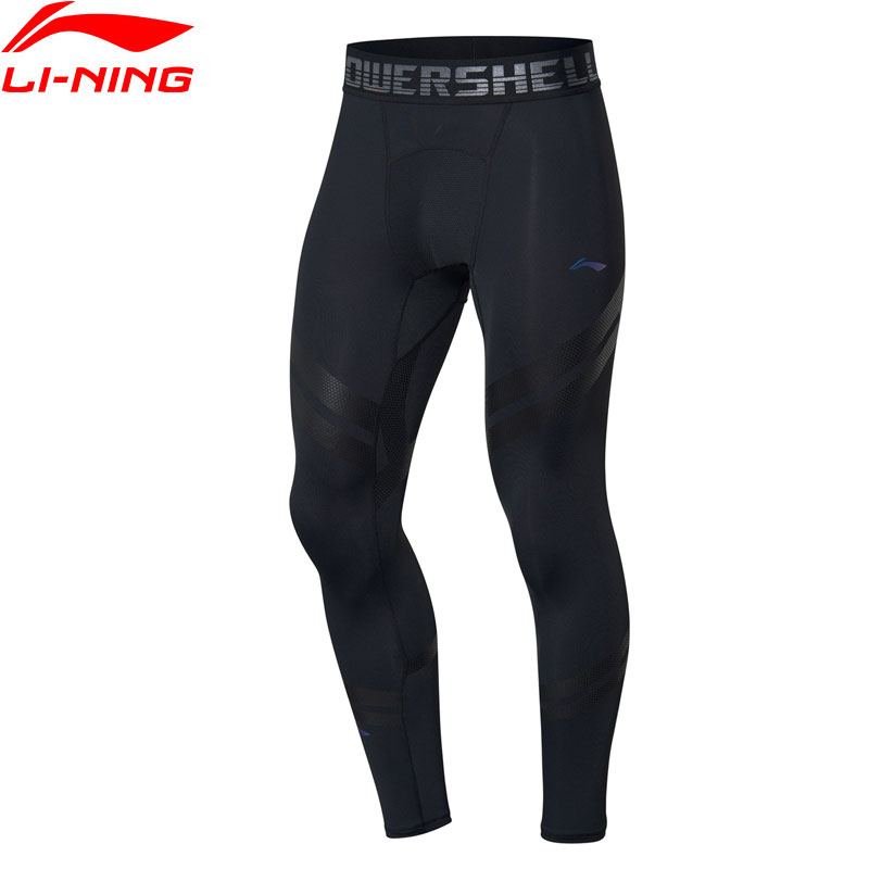Li-Ning Men Training Series Base Layer Tight Fit 88% Nylon 12% Spandex LiNing Fitness Elastic Sports Pants AULP049 JAS19(China)