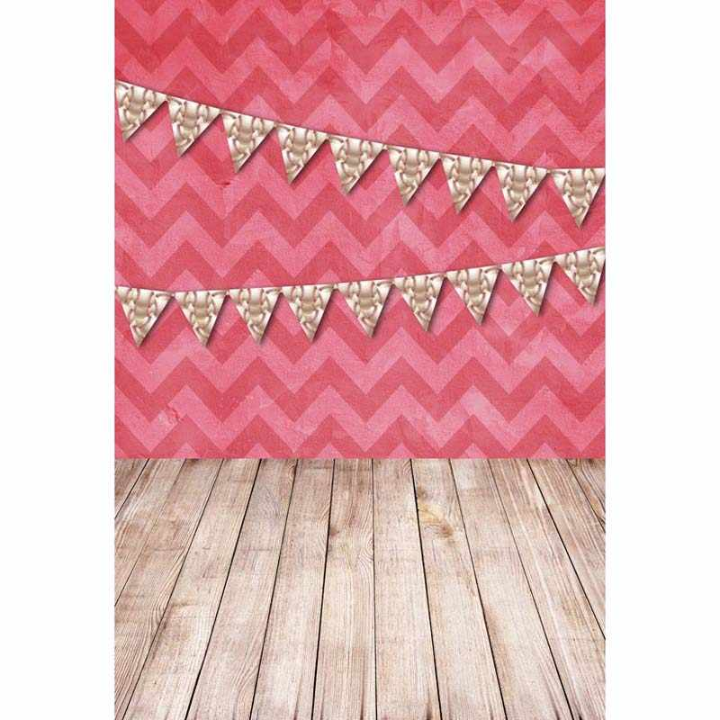 8x12FT Diepe Roze Chevron Muur Wimpels Vlaggen Hard Houten Floor Custom Fotostudio Achtergronden Achtergronden Vinyl 2.4x3.6 m
