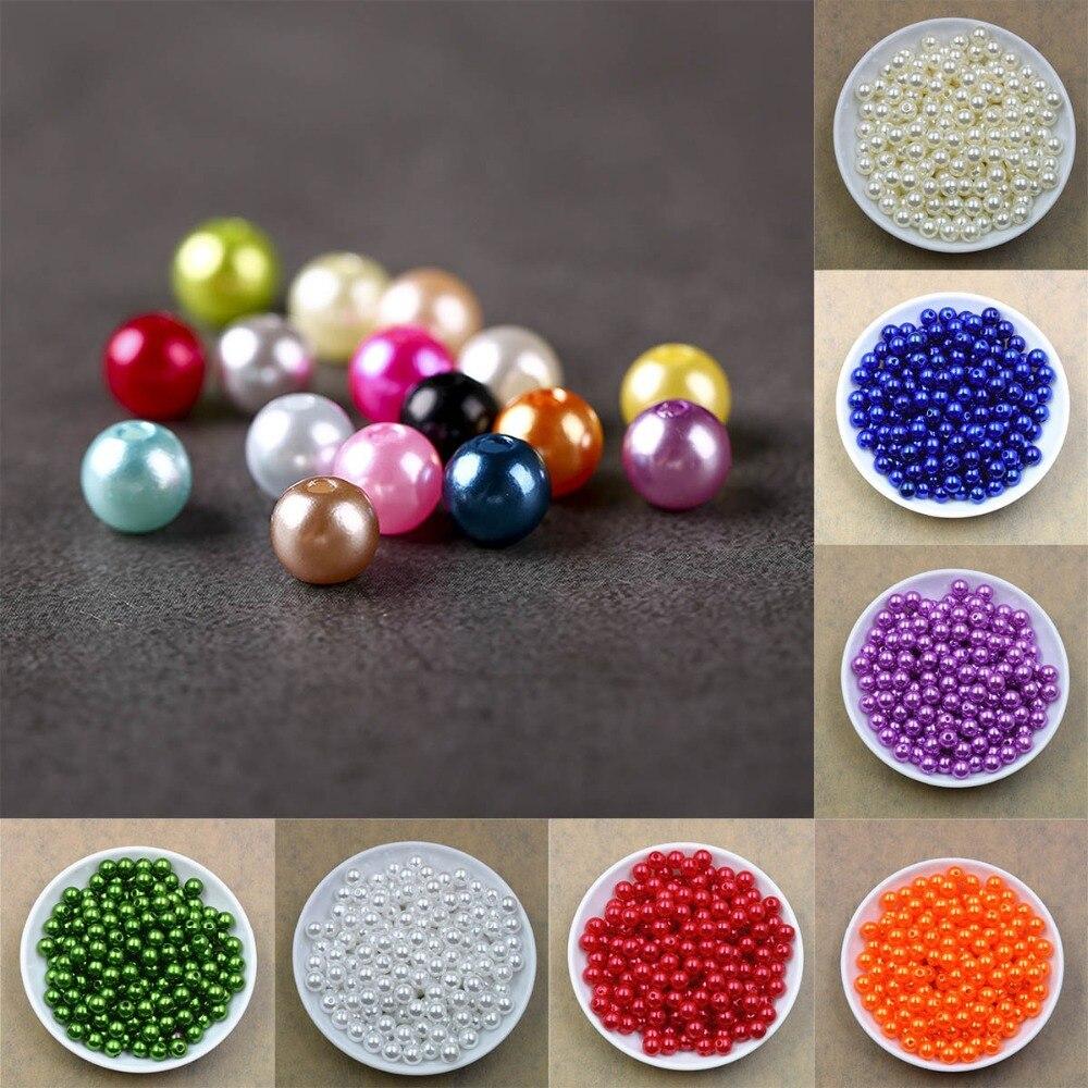 100 шт./лот 4681012 мм с отверстием ABS имитация-pearl Loose Жемчуг Бусы для ювелирных изделий Создание DIY аксессуары