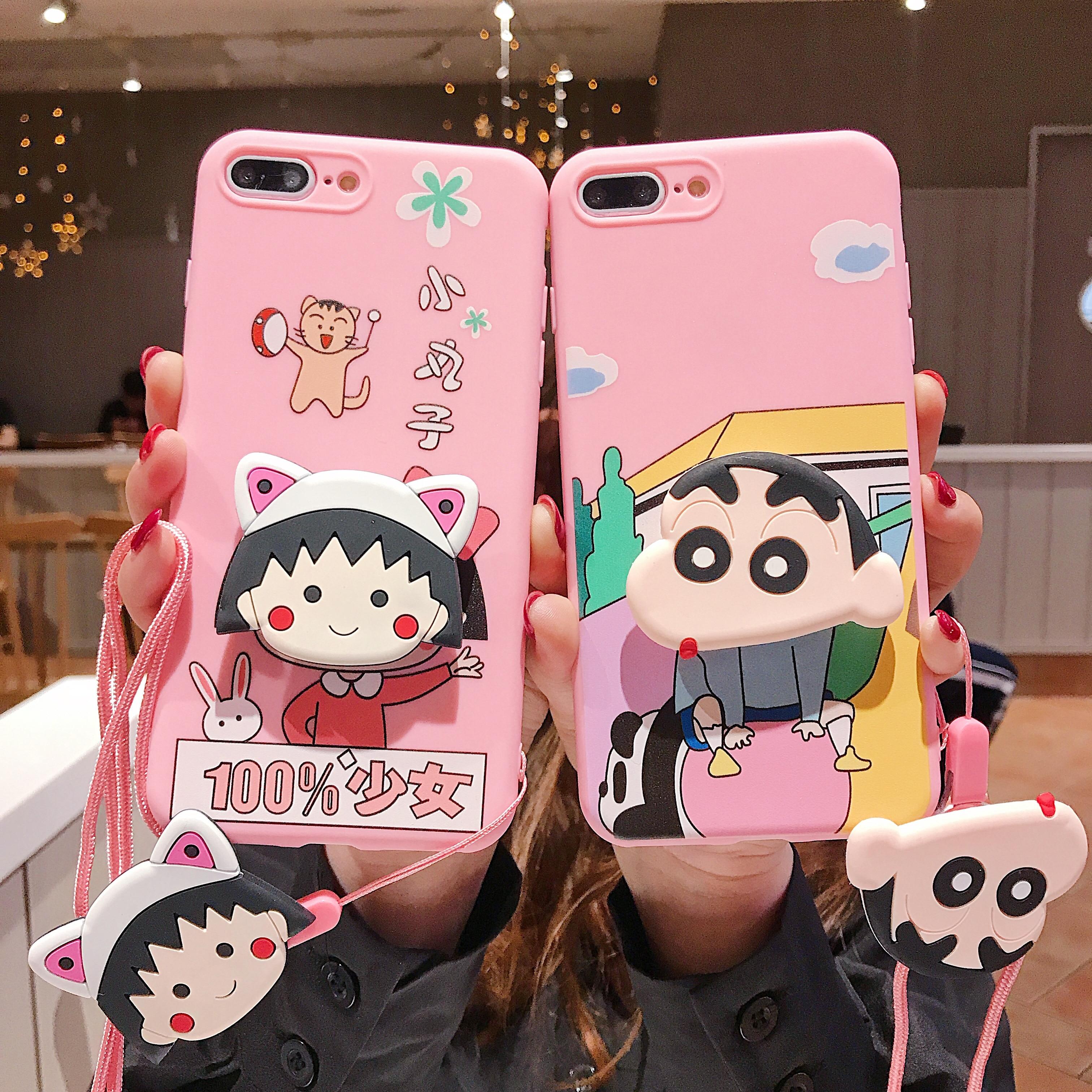 Cartoon Crayon Shin-chan Chi-bi Maruko Folding Bracket Lanyard Phone Case Suit For IPhone