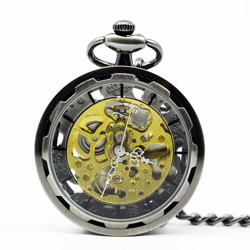 Fashion Stainless Steel Steampunk Skeleton Mechanical Pocket Watch Hand Winding Open Face Clock Men Women With Chain PJX1222