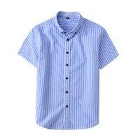 2019 Fashion Stripe Man Shirt Short Sleeve linen/ Cotton Airsoft Summer Shirts Business Affairs Casual Clothing Big Size