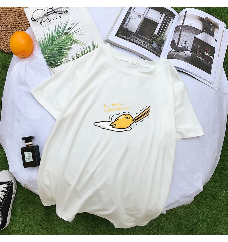 New T Shirt Women Kawaii Cartoon Gudetama Print Tops Tee Harajuku Summer Short Sleeve Casual Loose Korean Clothes Camiseta Mujer (7)
