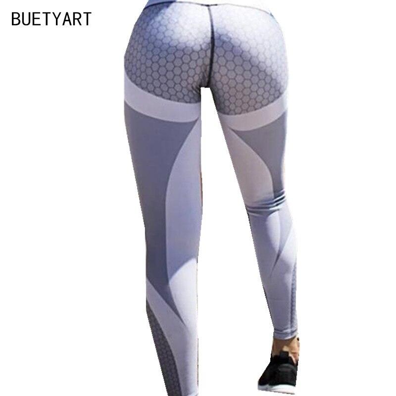 BUETYART Фитнес леггинсы Для женщин тренировки одежда для Для женщин Activewear Цвет блок леггинсы