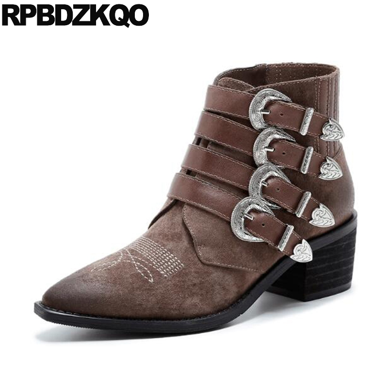 Suede Brown Shoes Booties Pointed Toe 9 Motorcycle Biker British Women Ankle Boots Medium Heel Chunky Genuine Leather Big Size