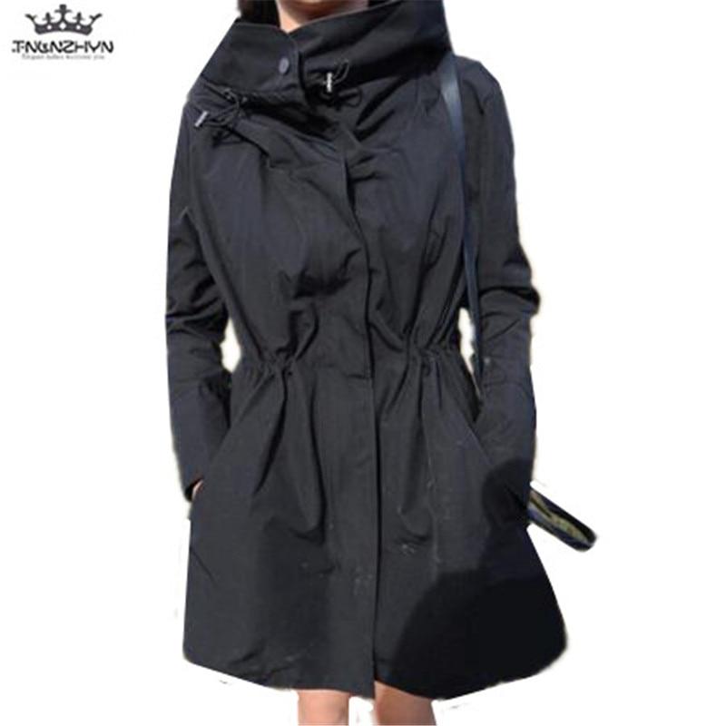 vent 2019 Nouveau Coupe Femmes Moyen Trench Slim Mode Capuche Long Black Printemps Automne Survêtement Tnlnzhyn Y1049 Manteau ZkXuPi