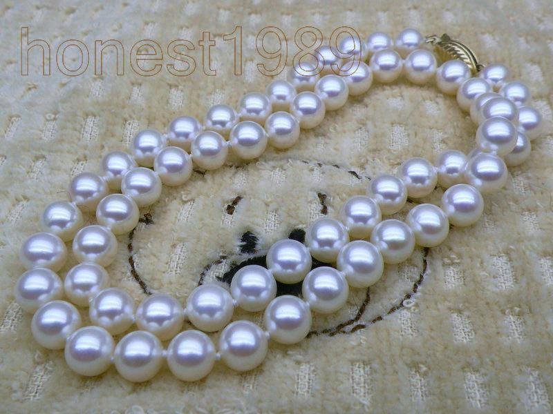 Collier de perles akoya blanches rondes AAA + + + 9-10mm solide 18