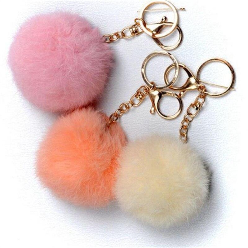 Горячее предложение кролик Мех животных мяч сотовый телефон автомобиль брелок кулон Сумочка Шарм брелок цепочка для ключей 5 видов цветов …