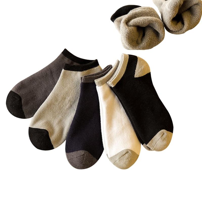 5 Pairs Men Ankle Sock Plus Cashmere Thicker Warm Comfortable Durable Elasticity Men Socks Winter Patchwork Cotton Sock Meias