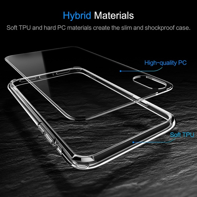 Pure Series for iPhone X Case, ROCK Hard Back case for iPhone X Crystal Clear Phone case for iPhoneX hard back with soft edge 1
