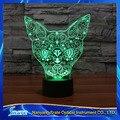 Visión 3D Gatito Cabeza de Ciervo LED Placa De Acrílico 7 Colores Gato Atigrado Rocket Lámpara de Escritorio Dormitorio Regalo de La Decoración Luz de La Noche