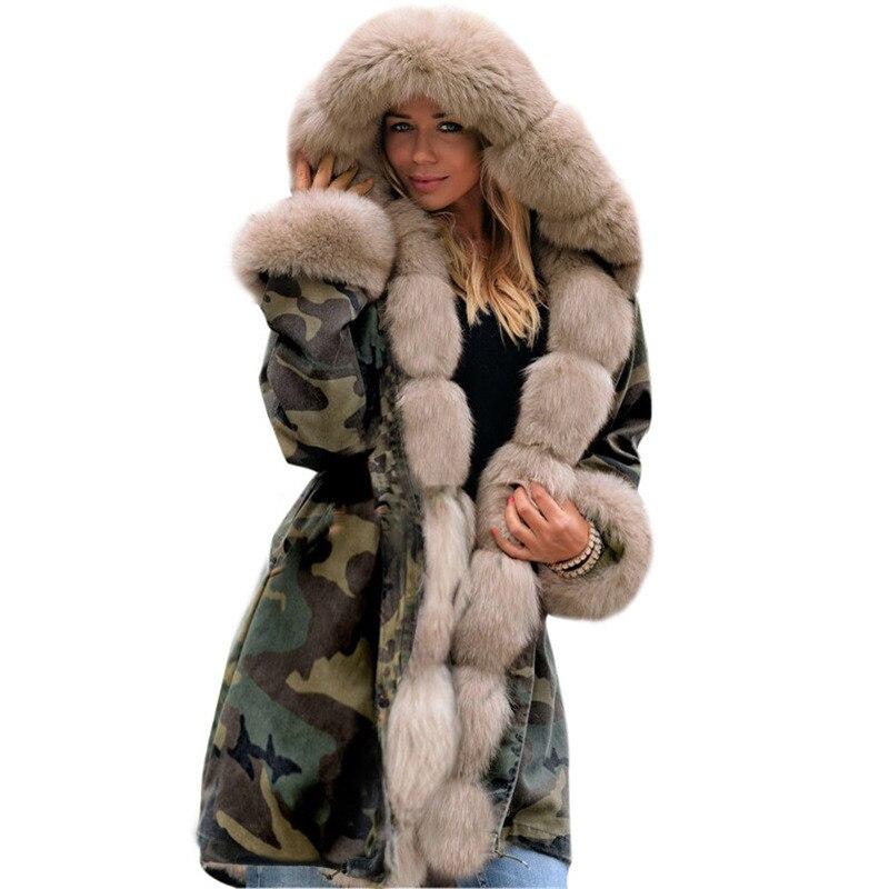 Feminina Rouge De Femme Capuche Parka Camouflage Coatlong Inverno Y7byfg6v
