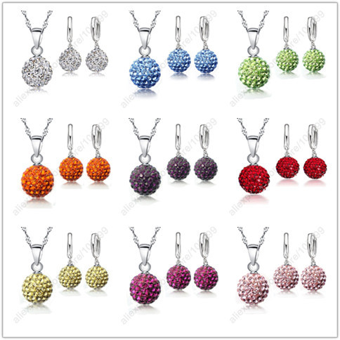 Crystal Disco Ball Pendant In Sterling Silver Necklace With Matching Earrings