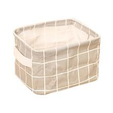 Geometry Pattern Desk Storage Box Cotton Linen Organizer Basket Foldable Cosmetic Case Hot Sale