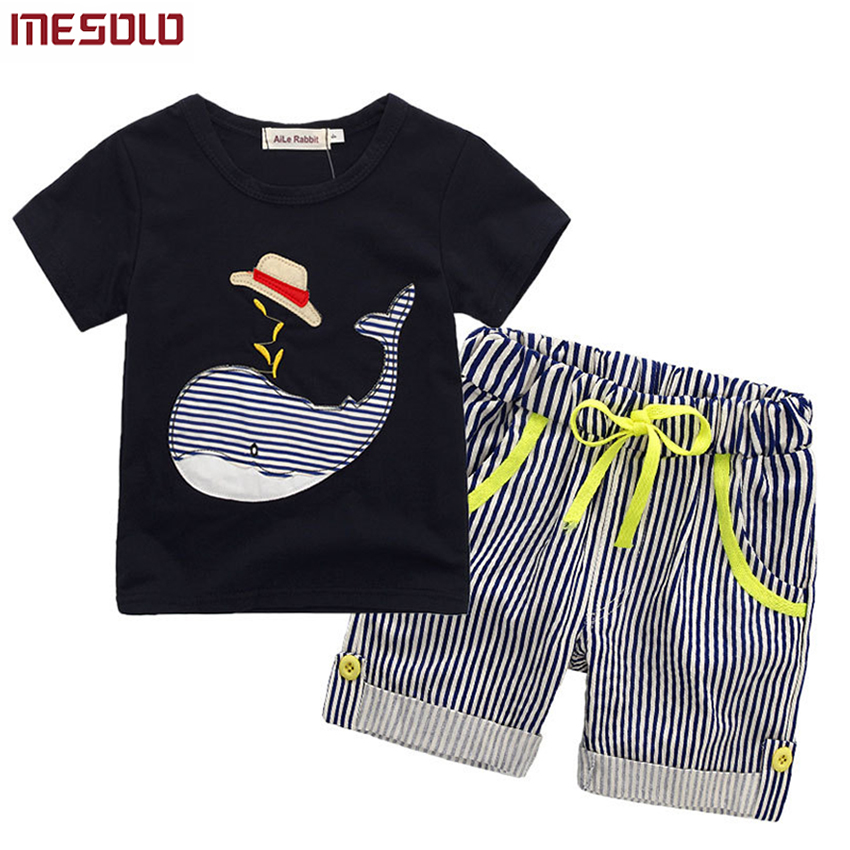 80-130cm Cotton Kids Boys Clothes Children Clothing Sets Summer Baby Boy Clothes Cute Whale Children's Sets T-Shirt Denim Pants cotton baby boy clothes spring baby clothing sets roupas bebe long sleeve children clothing fashion kids clothes t shirt pants