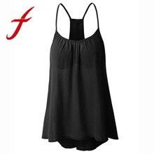 Feitong размера плюс, женские майки, сексуальные топы с открытой спиной, безрукавка, блузка на бретельках, женская блузка
