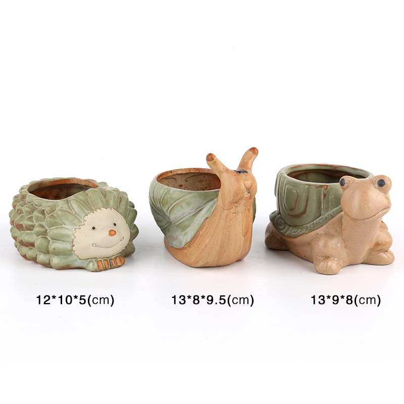 Cartoon Style Tortoise Hedgehog Snails Shaped Mini Flower Pot For Succulents Fleshy Plants Flowerpot Ceramic Home/Garden Decor