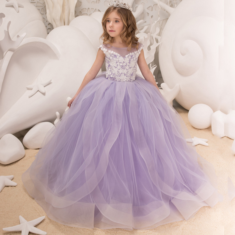 New Elegant Girls Tulle Beading Double V-neck Cap Sleeves Ball Gowns Flower Girl Dresses Princess Birthdays Party Wedding Gowns black knot design cross front v neck cap sleeves crop top