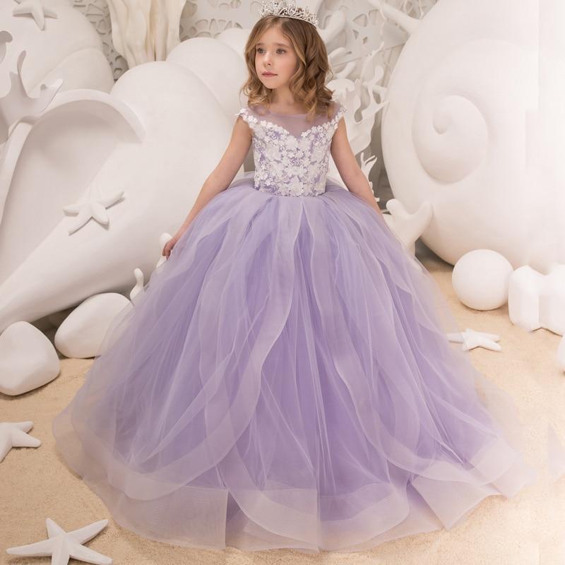 Nouveau filles élégantes Tulle perles Double col en v Cap manches robes de bal robes de demoiselle d'honneur princesse anniversaires fête robes de mariée