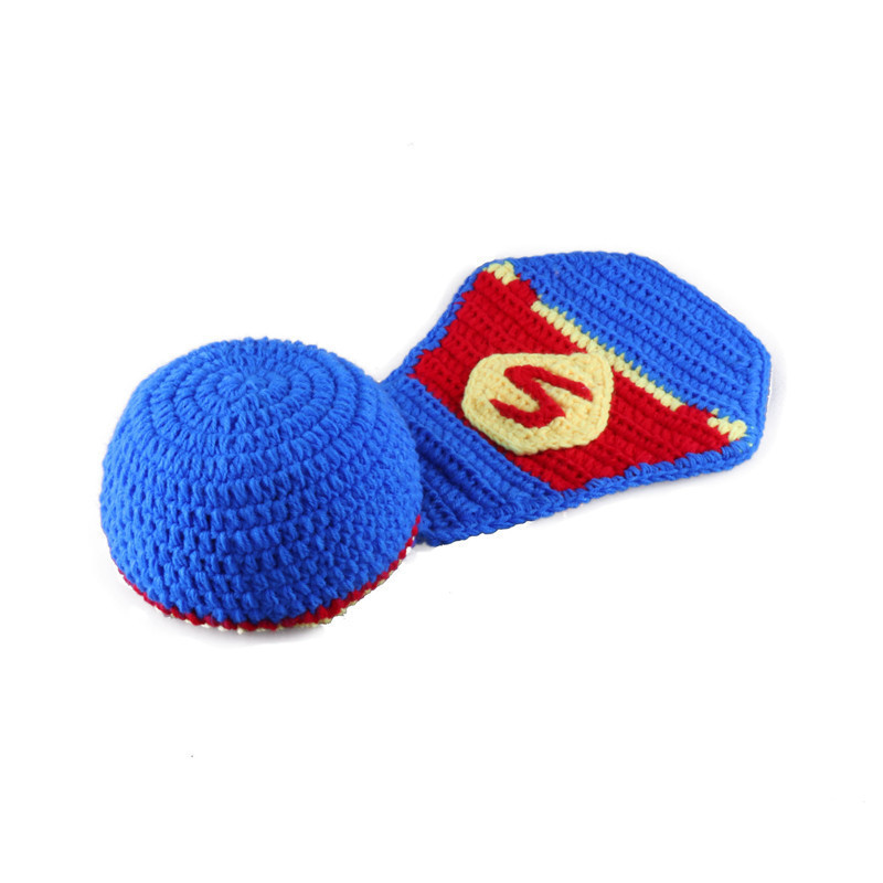 Newborn Baby Boys Crochet Superman Style Photography Props Outfits Knitted Infant Blue Color Cape Costumes Hot In Hats Caps From Mother Kids On