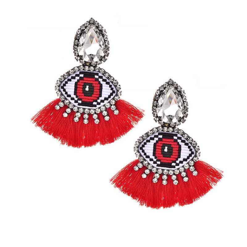 Boucles d'oreilles à pompon pour femmes boucles d'oreilles Vintage pendentif à œil géométrique boucles d'oreilles pendantes à franges multicolore