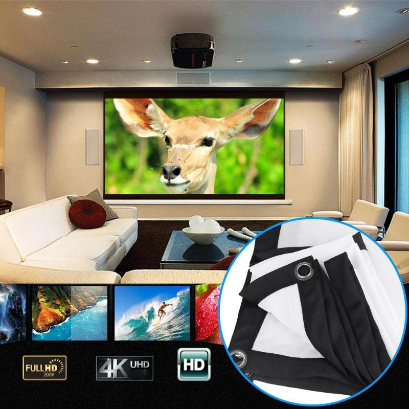 ALLOYSEED Portable 60/72/84/100/120 inch 3D HD Wall Mounted Projection Screen Canvas 16:9 LED Projector Screen For Home Theater 14