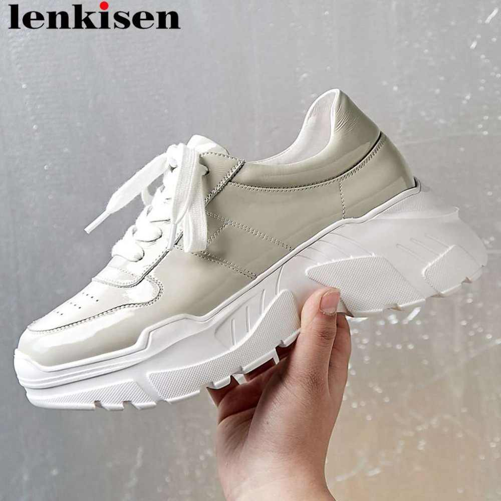 Lenkisen European style genuine leather round toe thick high bottom platform lace up thick high bottom vulcanized shoes L7f6