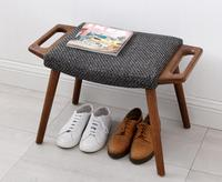 Nordic Oak Dressing Stool Footrest Sofa Stool Shoes Fabric Upholstery Bench Ottoman Household Home Wood Stool Leisure Footstool