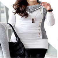 2017 Casual Summer Women Tops White Long Sleeve New Fashion Patchwork Rivet Blouse Shirts Casual Slim