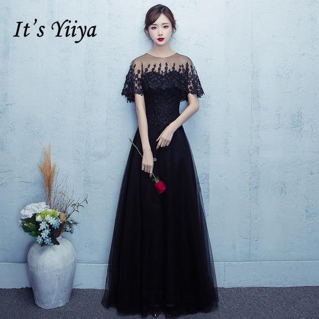 It\'s Yiiya 2017 Hot Black O Neck Short Sleeve Evening Dress Flower ...
