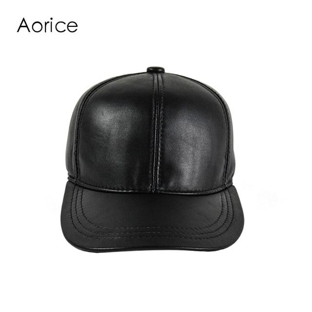 HL161-F Genuine leather baseball cap HIP HOP hat  men's  brand new real leather BLACK hats caps