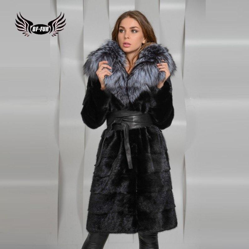 Шуба BFFUR 2019 из натурального меха норки с мехом серебристой лисы, женская зимняя элегантная парка, толстое теплое пальто