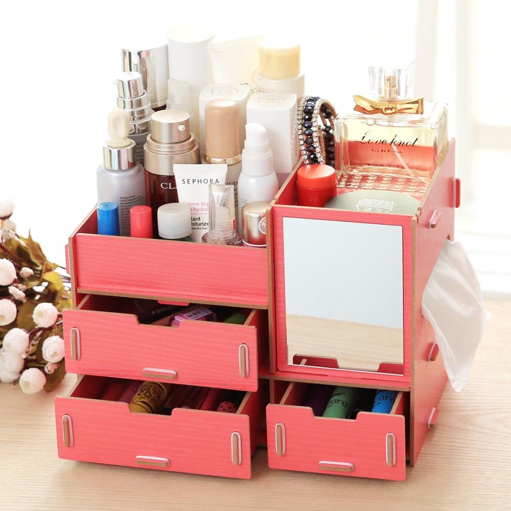 Aliexpress.com : Buy New DIY Wood Makeup Organizer with Mirror ...