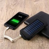 Solar Power Bank 15000mAh Large Capacity Dual USB Powerbank Waterproof LED Light External Battery Charger Pover