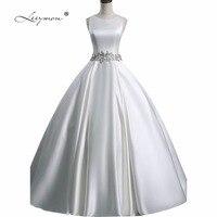 Leeymon Simple Satin Wedding Dress China Ball Gown Wedding Dress Beaded Belt Bridal Gown Customize Size A331