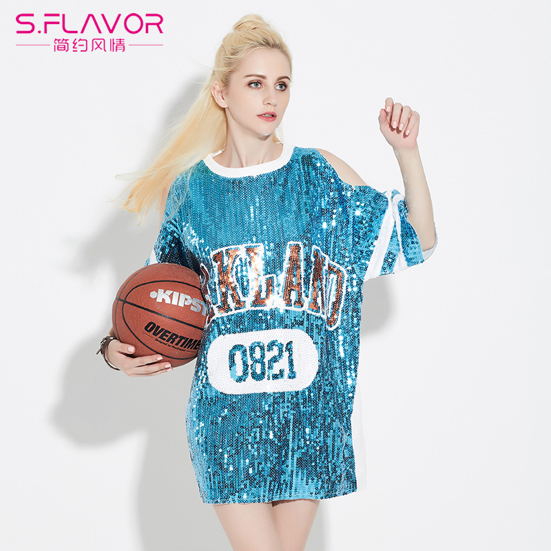 2017 Spring Summer Sequin T Shirt Dress Loose Tee Shirts