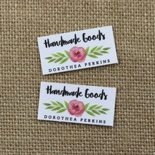 80 pieces Custom logo labels, Name iron on label, Clothing tags, Organic Cotton Labels