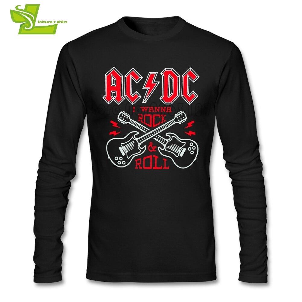 Malcolm Young Acdc T Shirt Ragazzi Nuovo Arrivo Unico Tee Shirts stampato Sciolto T-Shirt Uomo Manica Lunga O Collo Freddo Papà Top