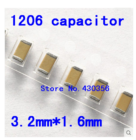 Free Shipping  100pcs 1206 SMD Capacitor 50V 22P 33P 47P  100P 220P 330P 470P 1NF 2.2NF 4.7NF 10NF