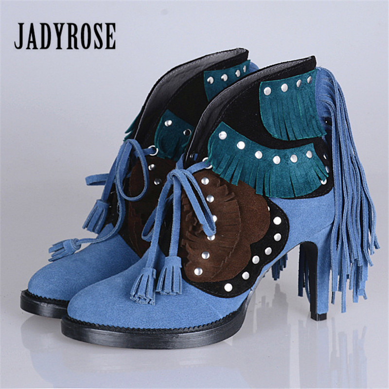 Jady Rose Suede Women Ankle Boots Fringed Lace Up High Heel Shoes Woman Rivets Studded Platform Pumps Valentine Shoes купить в Москве 2019