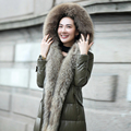 Genuína pele de carneiro para baixo casaco casacos de pele das mulheres reais raccoon guarnição de pele com capuz casaco de inverno para baixo exército Rússia verde freeshipping1113D