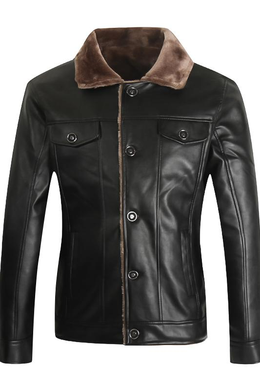 2018 New Fashion Men Winter Thick Leather Jacket Casual Flocking Leather Jacket Mens Clothing Motorcycle Leather Garment