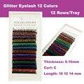 Envío Gratis 12 Colores Glitter Individual Pestañas de Extensión de Pestañas de Visón 0.15 Espesor 10mm 12mm 14mm Corea Falsos pestañas