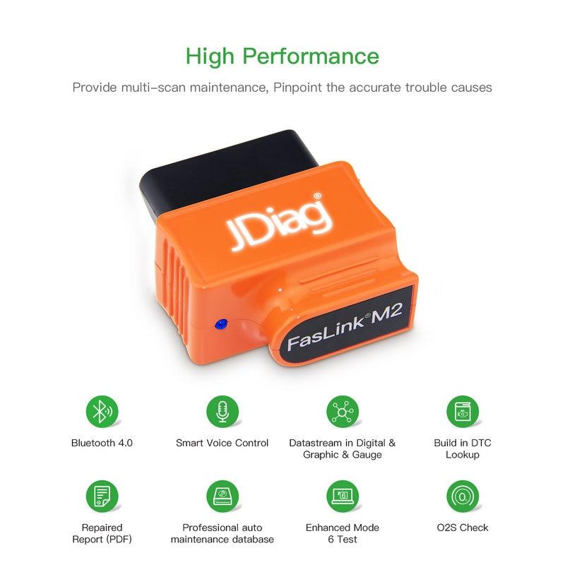 JDiag FasLink M2 Phone Diagnostic Tool PK Blue Driver EasyDiag OBDLink Automotive Scanner FasLink M2 Code Reader Bluetooth 4.0