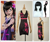 Film Hotel Transylvania 3 Mavis Cosplay Costume Sexy Deep V Neck Black Tight Skirt Prints Flower Girl Dress Wig Halloween